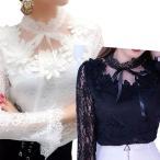 コーラス 衣装 白 黒 ブラウス 裏地付き総レース スタンド衿ブラウス 衿にサテンリボン 白 黒