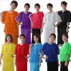 コーラス衣装 コーラスブラウス 四段ラメ素材フリルブラウスス コサージュ付き ストレッチ性素材 ラメがライトで光ります 十色あり
