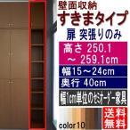 ショッピングつっぱり 天井つっぱり壁面棚 隙間収納 高さ250.1〜259.1cm幅15〜24cm奥行40cm厚棚板(耐荷重30Kg)