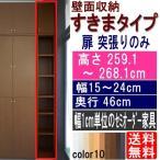ショッピングつっぱり 天井つっぱり壁面棚 多目的収納 高さ259.1〜268.1cm幅15〜24cm奥行46cm厚棚板(耐荷重30Kg)