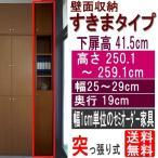 ショッピングつっぱり 天井つっぱり隙間収納 多目的棚 高さ250.1〜259.1cm幅25〜29cm奥行19cm厚棚板(耐荷重30Kg)