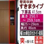 ショッピングつっぱり 天井つっぱり隙間収納 多目的収納 高さ250.1〜259.1cm幅25〜29cm奥行46cm厚棚板(耐荷重30Kg)