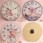 掛け時計 クラシックローズ クロック 薔薇 おしゃれ 軽量 見やすい 直径約34cm