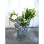 花瓶 花びん ガラス アイアンリーフ おしゃれ フラワーベース グレー