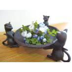 三猫バスケット ねこ ネコ 置物  雑貨 縁起物 猫の置物 キャット アジアン雑貨 収納トレイ テーブルインテリア