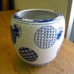 深火鉢 丸紋 めだか アンティーク 水鉢 陶器 鉢カバー