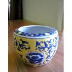 ミニ火鉢 黄底 小 めだか アンティーク 水鉢 陶器