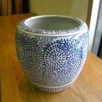 深火鉢 唐草柄 めだか アンティーク 水鉢 陶器