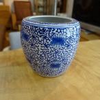 深火鉢 大花柄 めだか アンティーク 水鉢 陶器 鉢カバー