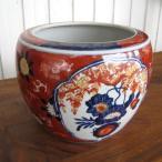ミニ火鉢 赤絵 大 めだか アンティーク 水鉢 陶器