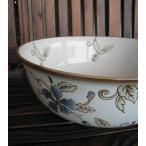 深型水盤(水鉢/金魚鉢)コバルト花陶器鉢水鉢おしゃれメダカ鉢和モダンアジアン