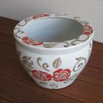 青花丸大魚缶 赤バラ(中) 火鉢 めだか アンティーク 水鉢 陶器 アジアン