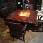 囲炉裏テーブル 無垢 炉付きテーブル 火鉢 民芸家具 和風家具  収納付 座卓