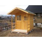 ミニハウス-ポーチ付(塗装品) ログハウス風 かんたん組立て 全面断熱材入り 快適環境でおしゃれな工房やお子様のべんきょう部屋に