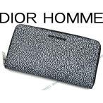DIOR HOMME ディオールオム ブラック×ホワイト ジップアラウンド長財布 2DSBC011-XSNH03E