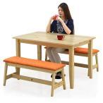 ダイニングテーブルセット 4人掛け 3点 ベンチ パイン無垢 天然木 完全組立式 カントリー調 北欧 モダン 木製 座面 ファブリック 布地
