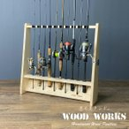 ロッドスタンド 片面10本用 ナチュラル 木製