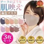 カラーマスク フリーサイズ 3枚セット 血色マスク 洗える マスク 3D 立体 伸縮素材 息苦しくない 速乾 くすみカラー