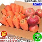 無農薬人参5キロとりんご2キロ 無農薬にんじんジュース用セット合計7キロ 訳あり 送料無料