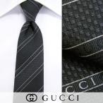 グッチ GUCCI メンズ ネクタイ 0998 ブラック系/レジメンタルストライプ/ジャガード織り/シルク/16-17aw