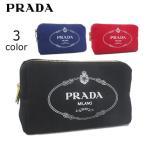 プラダ/PRADA レディース ポーチ CANAPA LOGO 1NA693 20L 3COLOR ブラック/レッド/ブルー/カナパロゴ/ファスナー/ジップ/コットン/セール