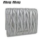 ショッピングミュウミュウ ミュウミュウ MIU MIU レディース 2つ折り財布/サイフ MATELASSE 5MV204 N88 シルバー/CROMO/F0135/18ss