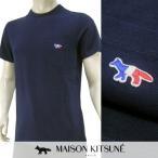 メゾンキツネ MAISON KITSUNE メンズ Tシャツ AM00102AT 1501 ネイビー/NA/半袖/クルーネック/18ss