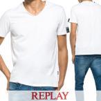 リプレイ REPLAY メンズ Tシャツ M3177 2660 ホワイト/001/半袖/Vネック/17ss