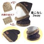 ニット帽 ネックウォーマー セット ボア付き 防寒 保温 男女兼用 フリーサイズ 全6色 オルルド釣具 ポイント消化