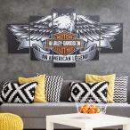 インテリアアートパネル 絵画 壁掛け装飾 ハーレーダビッドソン HARLEY DAVIDSON バイク ワシ 鷲 雑貨 総長150×総高80cm 5枚set 72
