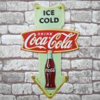 レトロ ブリキ看板 メタルプレート アメリカンレトロ アンティーク コカコーラ Coca Cola 矢印 ボトル アメリカン雑貨 インテリア【BZ-66】
