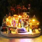 【全品最大23倍還元】クリスマス イルミネーション ジオラマタウン オールドビレッジ スノービレッジ サンタ 空を飛ぶサンタ ツリー 雪だるま JM-11
