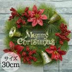 クリスマスリース 30cm グリーンリース ナチュラルリース ウィンターリース インテリア ギフト プレゼント リース 壁飾り 壁掛け WR-10