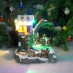 クリスマス イルミネーション ジオラマ サンタ ツリー スノー 雪 トナカイ ソリ ブランコ プレゼント 装飾 照明 クリスマスソング8曲収録 18×26cm JM-30