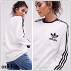 アディダス Tシャツ 長袖 adidas Originals White Three Stripe Long Sleeve T-Shirt ホワイト