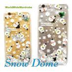 ★液体入り雪だるまスノードームiPhone6/6s,アイフォン6Plus用クリアカバージャケットケー ス