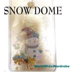 ★雪だるまサンタが動くiPhone5/5s/6アイフォンスノードームクリアー透明ジャケットケース液体