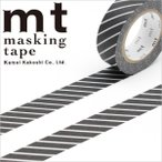 マスキングテープ  mt カモ井加工紙 mt1P ストライプ・ブラック 15mmx10m MT01D153・1巻 ネコポス対応