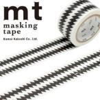 カモ井加工紙 マスキングテープ  mt × mintdesigns ZIGZAG ボーダー・ブラック 24mmx7m  MTMINT03・1巻