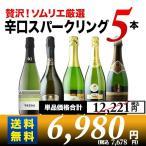 「セット21」贅沢辛口スパークリングワイン5本セット 第26弾 送料無料 スパークリングワインセット