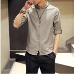 グレー/Mスタンドカラー 7部丈 チャイナシャツ 中国風 中国服 カンフー 組みひも チャイナボタン