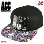 3D 帽子 フラット キャップ メンズ レディース ブランド ロゴプレート ベースボールキャップ ACC エーシーシー スノーボード ストリート アメカジ 無地 BISON