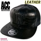 レザー 帽子 フラット キャップ メンズ レディース ブランド 合皮 ロゴ ベースボールキャップ ACC(エーシーシー) スポーツ ストリート アメカジ 無地 CAP-SNAKE