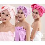 Yahoo!金興shop新商品 リボン付き 吸水キャップ タオル マイクロ ファイバー ヘア ドライ キャップ ヘア 乾燥 帽子 キャップ