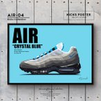 AIR クリスタルブルー スニーカーポスター キックスポスター 送料無料 ポスターフレーム付き AIR-04