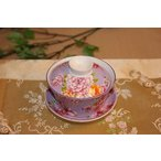 中国茶器 台湾茶器 三希 台湾花布 (紫) 蓋碗