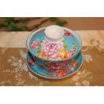 中国茶器 台湾茶器 三希 台湾花布 (水色) 蓋碗