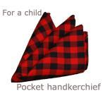 ショッピングポケット ポケットチーフ キッズ/子供用 アカベース ギンガムチェック  日本製/結婚式/入学式/卒業式