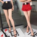 ショートパンツ レディース ミニ ショート丈 パンツ マイクロミニ フリル ティアード 赤 レッド 黒 ブラック