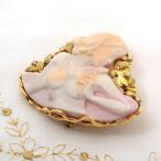 K18 ピンクシェルカメオ ダイヤモンド ブローチ ペンダント